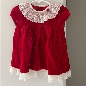 Vintage C.I. Castro Red Velvet Holiday Dress 9 mos